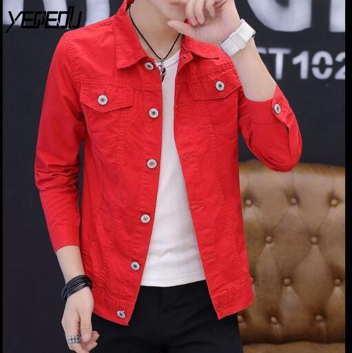 #3402 2019 Spring  Windbreaker Casual Slim Denim Jacket Men Jeans Jacket Short White/Black/Red Coat Streetwear Bomber Jacket