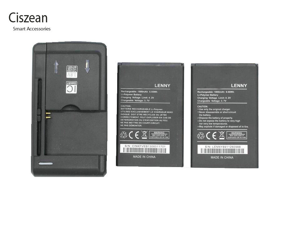 Ciszean Battery Cell-Phone-Batteries Replacement 1x-Charger 1800mah For Wiko LENNY Bateria