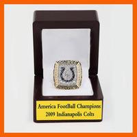 Gorgeous Wooden Boxes with A.F.C Brass 2009 Indianapolis Colts Championship Rings