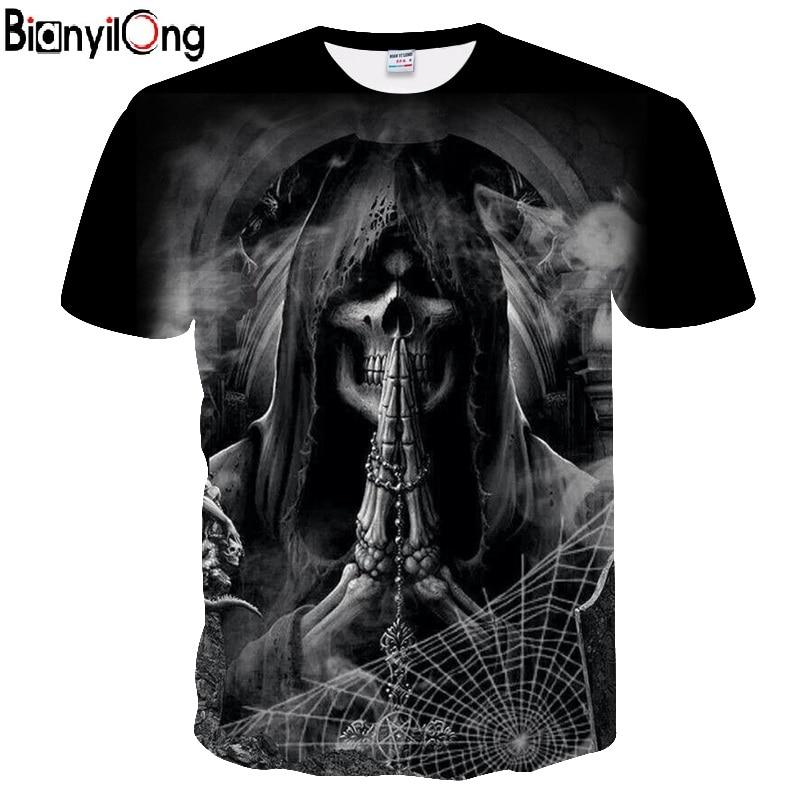 BIANYILONG 2018 black Cobweb&Skull pinted 3D   t     shirt   Men tshirt Summer   T  -  Shirt   Casual Tees Short Sleeve Tops Hip Hop DropShip