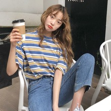 New t-shirt Womens Fashion Summer Casual T-shirt Short Sleeve O-Neck Preppy Style Striped Loose Tee