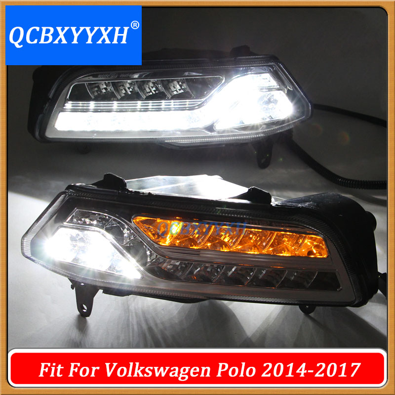 QCBXYYXH Car-styling 12V White+Yellow Turn signal LED DRL Light Daylight Fog lamp for VW Polo Hatchback 2014-2017 High/Low Match