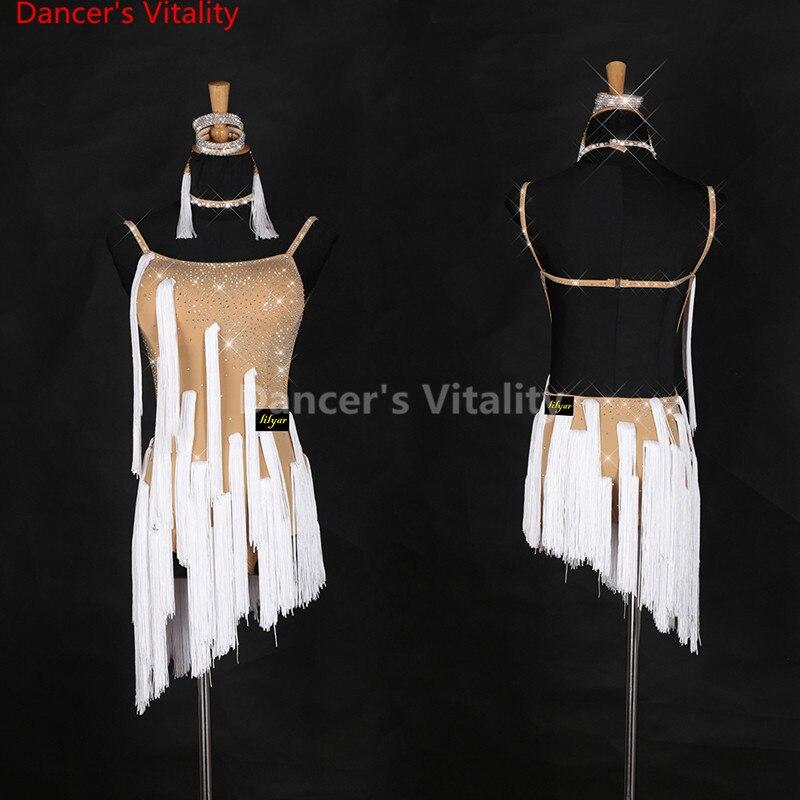2017 Sexy Cheap Latin Dance Dress Women Professional Latin Skirt Samba Dance Latin tassel Salsa Ballroom Dance Skirts Dresses