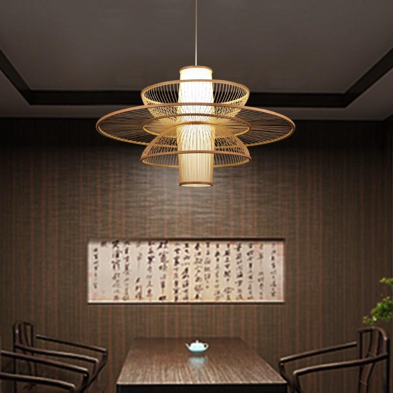 new Chinese American restaurant Japanese bamboo Pendant Lights wood lantern art creative Pendant lamps ZL14 ya73 new arrival modern chinese style bamboo wool lamps rustic bamboo pendant light 3015 free shipping