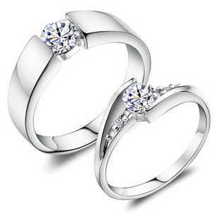 טבעות זוג חתונת מאהב 925 אהבה מתנה נחמדה רומנטי נקבה/זכר מצופה זהב טבעות 2016 חמה למכירה J045
