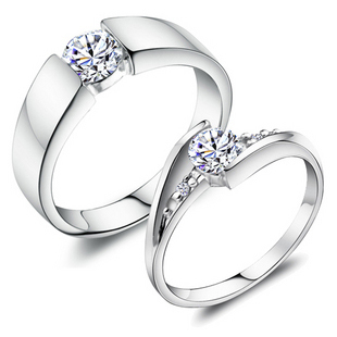 Lover Wedding Rings 925 Nice Valentine S Gift For Female Male Plated Gold