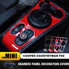Hot For mini cooper F60 countryman Interior Trim Carbon Fiber Gear Shift Control Panel Cover Sticker Car Styling Accessories
