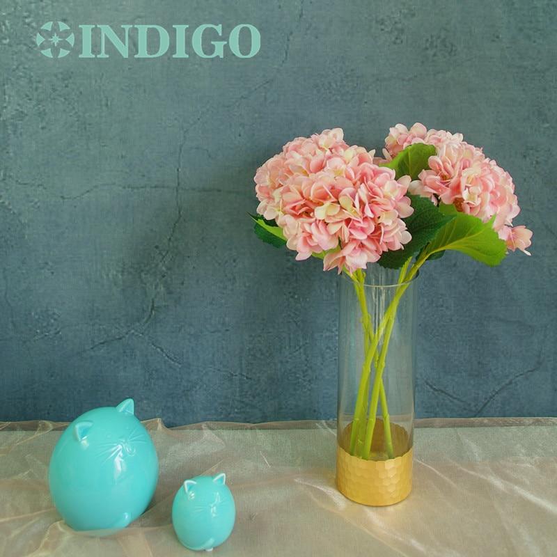 INDIGO- 5ks Růžové hortenzie s listy Květina Hydrange Krásné svatební květiny Květinové události Party Tabulka Květ Doprava zdarma
