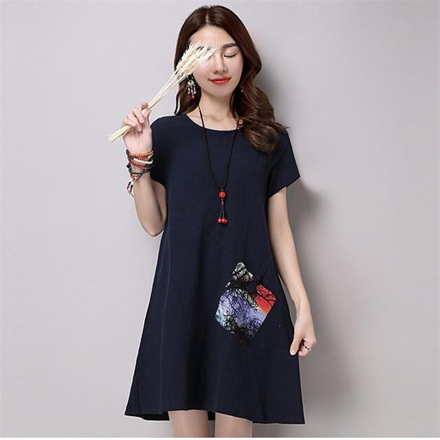 Women Ladies Summer Flare Dress Casual Vintage Linen Dress robe ...
