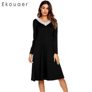 Image 3 - Ekouaer Nightgowns Sleepshirts Long Sleeve Sleepwear Casual Women Lace V Neck Loose Long Nightdress Nightgown Home Dress Autumn