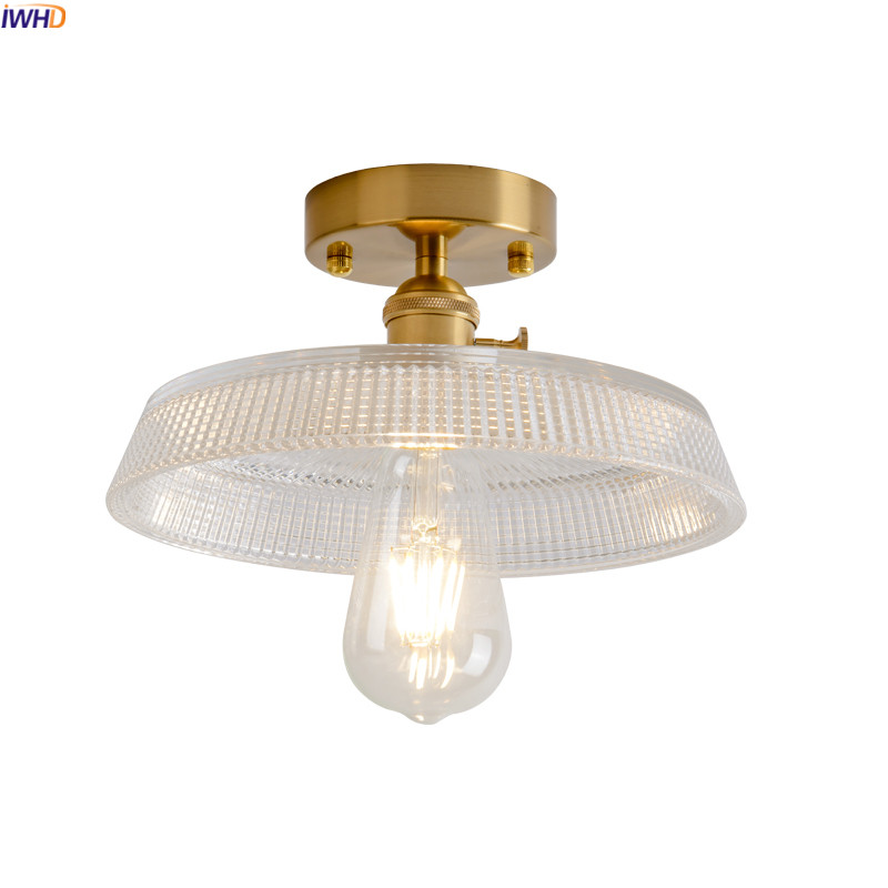 IWHD Loft Industrial Vintage Ceiling lamp Glass Hallway Balcony Porch Nordic Modern Copper Ceiling Lights Plafon Lampara Techo iwhd europe vintage glass led ceiling lights for kitchen hallway balcony copper ceiling lamp plafonnier led lamparas de techo