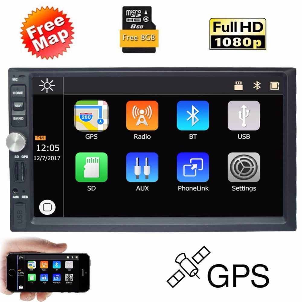 EinCar 7 Inch Touch Screen Car MP5 Player GPS Navigation Car Stereo 2 Din Bluetooth FM Radio Multimedia Receiver Support USB/SD