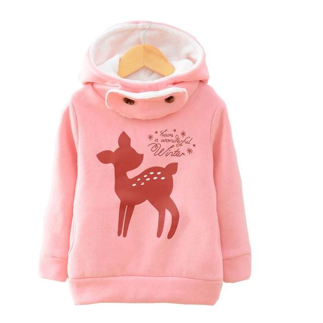 V-TREE plus velvet winter children jackets cartoon deer girls hoodies outerwear thicken kids coat fashion baby hooded sudaderas