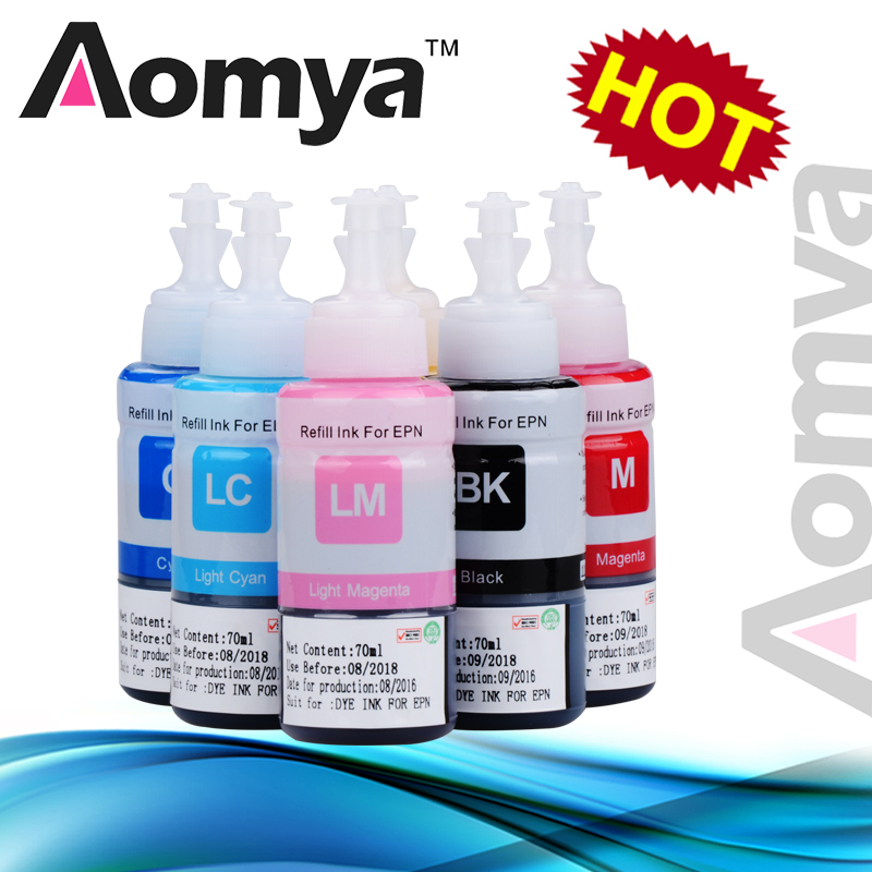 лучшая цена Aomya 6 Colors Set Dye Ink Refill Kit None OEM for T6731-T6736 T6741-T6746 Compatible for Epson L800 L801, 70ml/pc