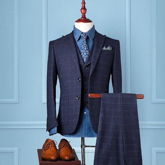 2017 Lã Azul Grade estilo gentleman terno dos homens feitos sob encomenda Feito sob medida Terno do casamento Blazer ternos para os homens Feitos Sob Medida Casamento terno