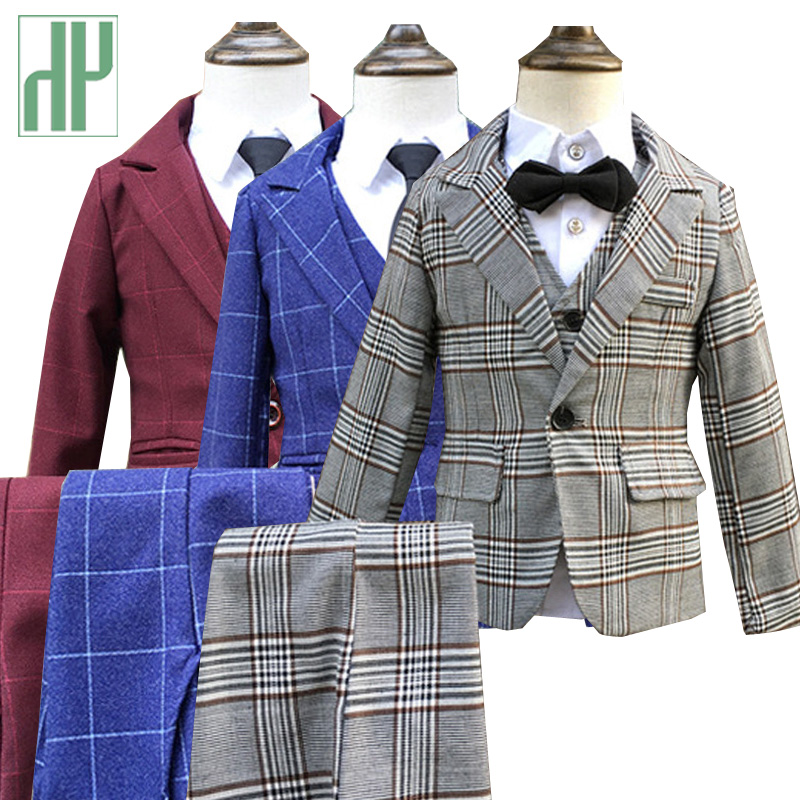3pcs/set Boys suits for weddings grid Jackets Formal Coat+Pants+Vest children's suit baby boys blazer formal outfit kids tuxedo grid carrot pants