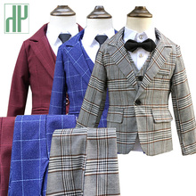 3pcs/set Boys suits for weddings grid Jackets Formal Coat+Pants+Vest children's suit baby boys blazer formal outfit kids tuxedo boys 3pcs suits flower boys wedding tuxedo 3 piece suits page boy party formal custom