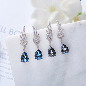 Image 3 - Cdyle Silver 925 Fine Jewelry Angel Wing Dangle Earrings with Blue Angel Teardrop Crystal for Bridal Wedding Ear Accessories