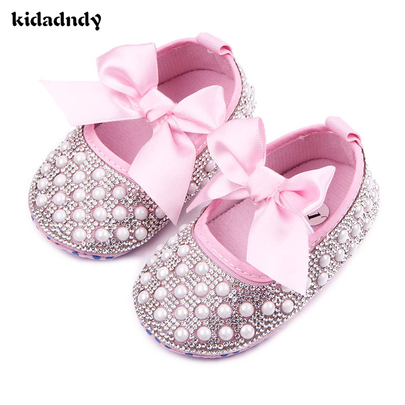 Bow Crib Shoes Baby 2017 Baby Girl Princess Baby Shoes Summer Soft Bottom Breathable Barefoot Shoes Female Spring YD206LLR
