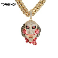 Hiphop Statement Chunky Men's Micro Pave CZ Stone 69 Saw Doll Head Mask Pendant Mouth Movable Rap Big Enamel Necklace Jewelry