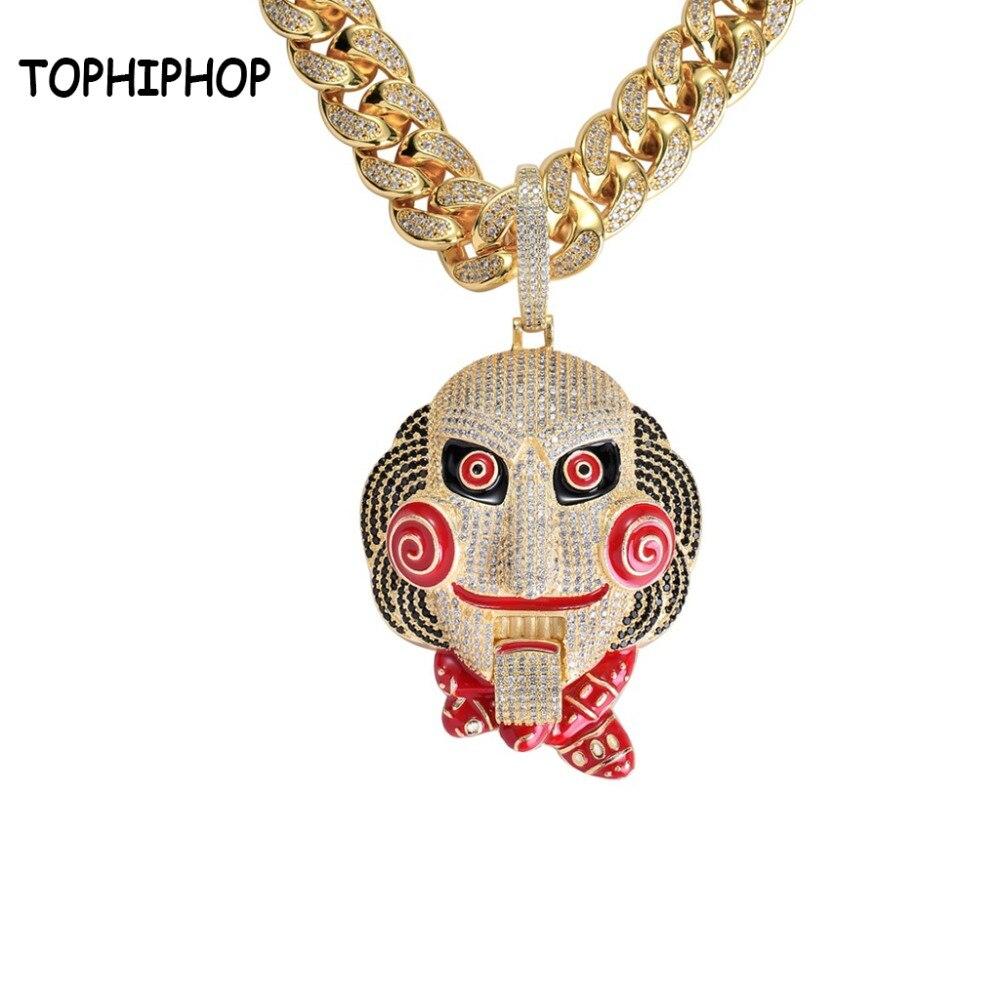 Hiphop de Déclaration Chunky Hommes Micro Pave CZ Pierre 69 Vu tête de poupée Masque Pendentif Bouche Mobile Rap Grand Émail Collier bijoux
