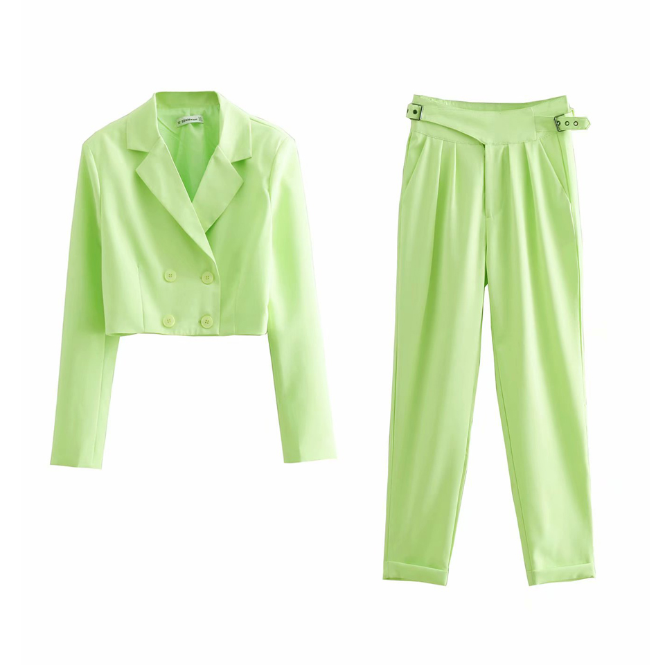 Women Casual Pant Suits 2019 Summer Double Breasted Long Sleeve Short Blazers and Pants Female Fashion Pant Suits Sets
