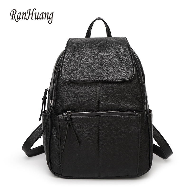 ФОТО RanHuang Women Waterproof Backpack PU Leather Backpack Shoulder School Bags For Teenage Girls Black Rucksacks mochila feminina