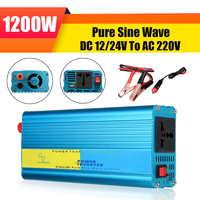 1200W DC12/24V To AC 220V Pure Sine Wave Watt Power Inverter Car Caravan Camping 8 Intelligent Protection Buzzer Reminder High