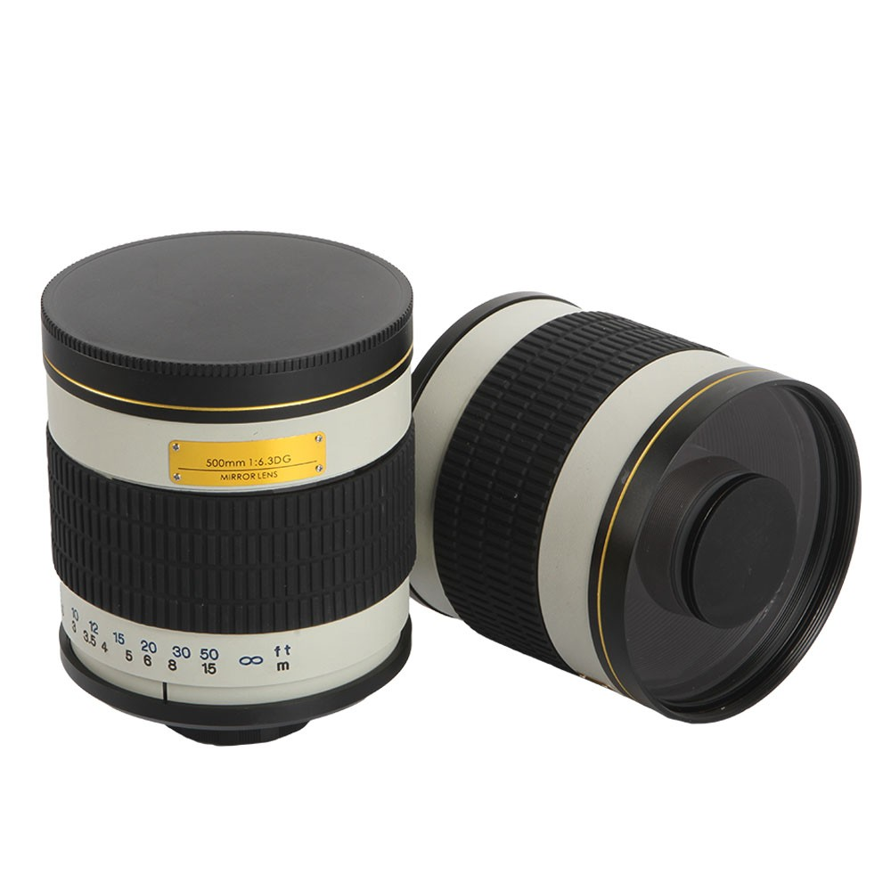 500mm F/6.3 Telephoto Mirror Lens + T2 Mount Adapter Ring for Canon Nikon Pentax Sony Olympus DSLR 1