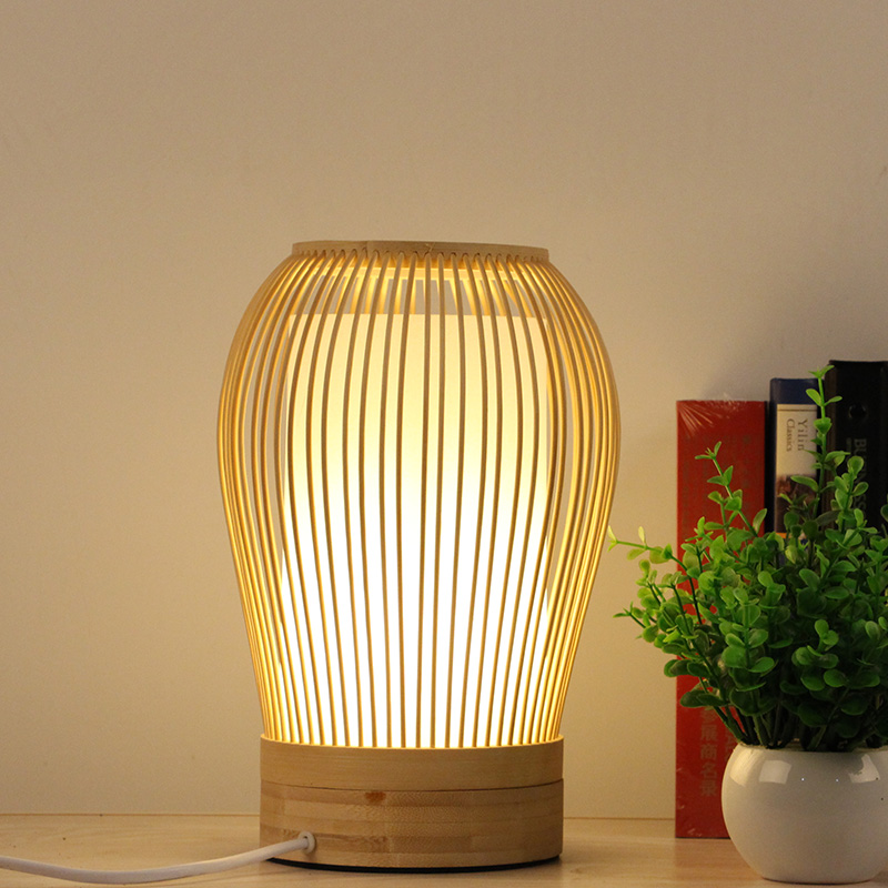 New Chinese Zen Simple Living Room Table Lamp Bedroom Bedside Table Lamp Bamboo Decoration Desk Lamp AP8211437