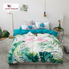 SlowDream Green Leaf Nordic Bedding Set Double Queen Bedspread Duvet Cover Bed Linens 100% Cotton Bedclothes Home Textiles