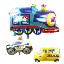 1pc Cartoon 3D cute Car school bus Foil Balloon Train tank globos Happy Birthday Party Decor Supplies kids toys air balloons