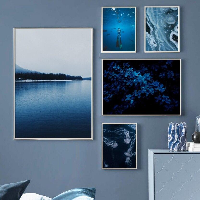 Синий лист Медузы ныряльщик морской Агат настенная живопись холст скандинавские постеры и принты настенные картины для гостиной домашний декор|Рисование и каллиграфия|   | АлиЭкспресс