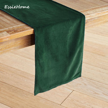 ESSIE HOME Rich Green Emerald Green Double Side Matte Velvet High End Table Runner Table Cloth Table Runner Placemat недорого