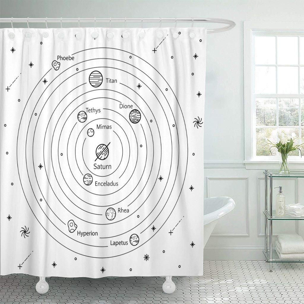 Detail Feedback Questions About Shower Curtain Astronomic Of Saturns Satellites Use Astronomy Cartoon Contrast Cosmic Cosmos Dione Decorative Bathroom On