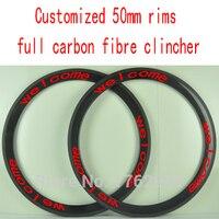 2Pcs New Customized 700C 50mm Clincher Rims Road Bicycle 3K UD 12K Full Carbon Fibre Bike
