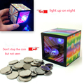 Funny Gadgets flash light up magic box piggy bank close up magic trick money box props coin disappear Toy Halloween Decorations