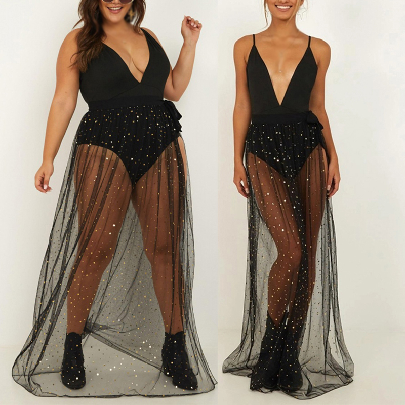 f8356ea30 Faldas de moda Falda plisada larga plisada de tul de malla dividida para  mujer