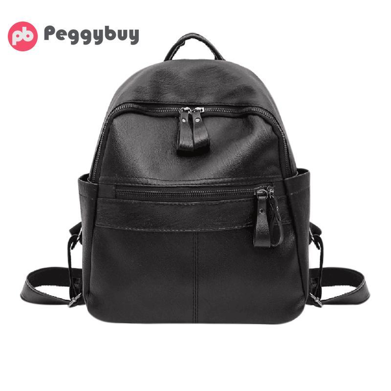 cb9efee67e23c Best buy PU Leather School Bags Double Pocket Fashion Horizontal Zipper  Pull Big Backpacks Preppy Style Shoulder Black Bag 2017 Mochila online cheap