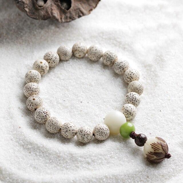 Tibetan Buddha Mala Beads Bracelet Cream Lotus Natural White Bodhi Seed Olive Nut Rosary Uni Prayer