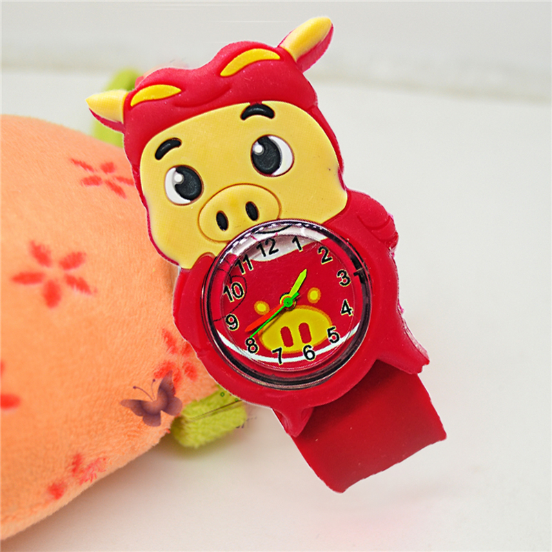 Children Watch Snap Cartoon New Year's Pig Kid Baby Girls Boys Gift Student Clock Slap Hand Wristwatch Child Watches Kids Watch