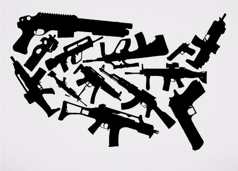 Gun Vinyl Wall Decal Weapon Machine Gun Set Rack Weapon