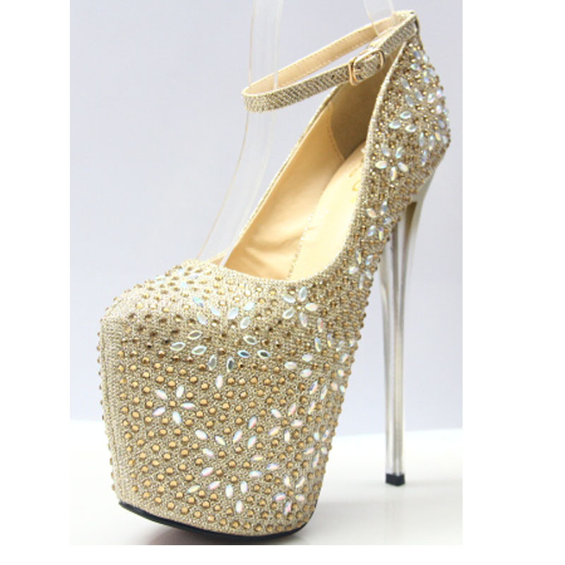 High Heels Women Pumps Peep Toe Rhinestone Gold Silver Dress Women Wedding Shoes 19cm Clear Heels Sexy Lady Platform Pumps wedding shoes bridal platform heels spring pumps gold shoes heels peep toe women s pumps silver high heels sexy pumps yma134