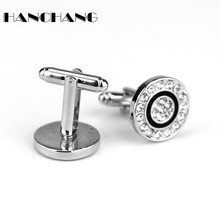Mens Shirt Cufflinks Round Rhinestones Cuff Buttons Pins High Quality Fashion Jewelry Cuff Links for Women Male pin cheap Tie Clips Cufflinks Simulated-pearl Zinc Alloy Vintage HANCHANG Metal Bolo Ties Unisex women men as shown