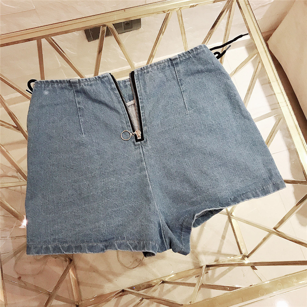 Fashion Side Opening Shoelace Frenulum Post Zipper Denim High Waist Jeans Woman Befree Shorts Women Jeans Short Feminino Modis