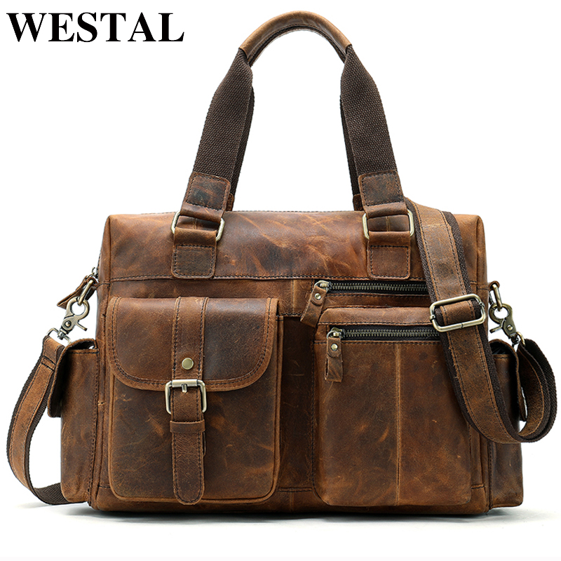 WESTAL genuine leather messenger bag men shoulder bag Casual Male briefcases laptop handbags computer leather bags for documents