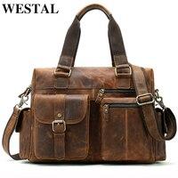 WESTAL genuine leather messenger bag men shoulder bag Casual Male briefcases laptop handbags computer leather bags for documents