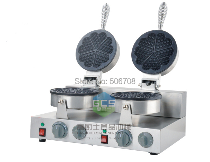 free shipping 110V / 220v Electric double-end  Belgium waffle maker machine heart shape waffle baker
