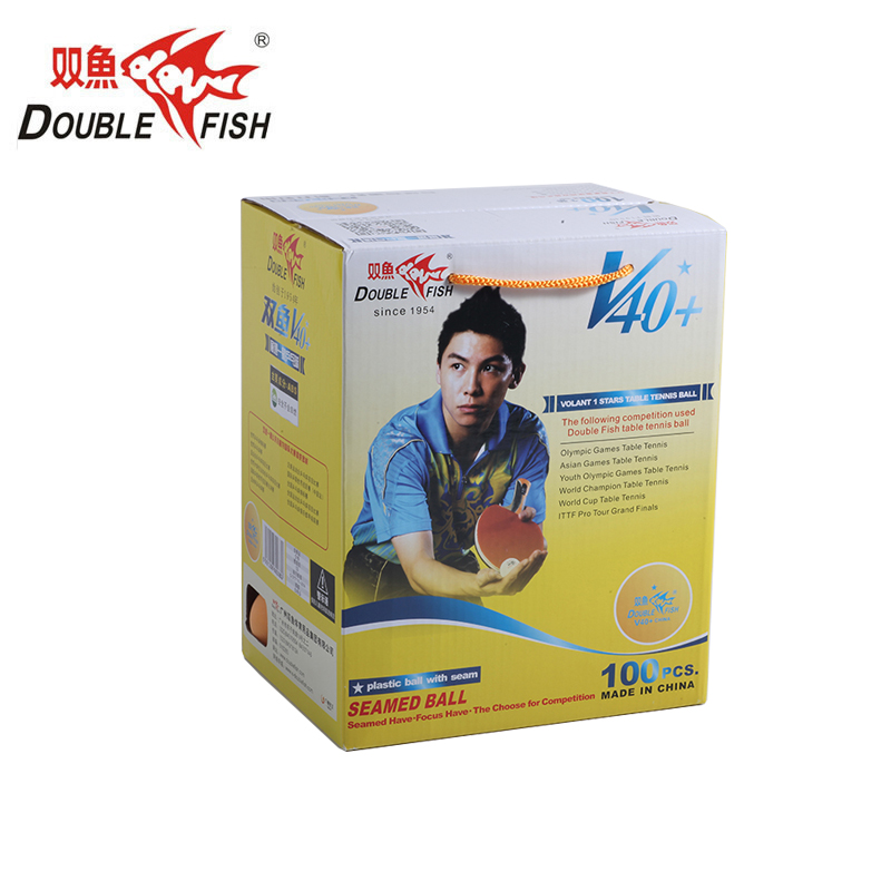 Genuine 100balls DOUBLE FISH Volant V40+ one Star Table Tennis Balls ABS polymer Ping pong Ball Approve by ITTF Training Ball ping by 2015