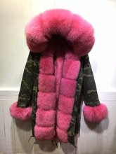 Peach all real fur jacket removable collar, cuff, hooded fox fur parka winter women camouflage coats
